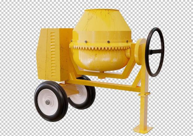 Żółty beton, betoniarka na białym tle projekt