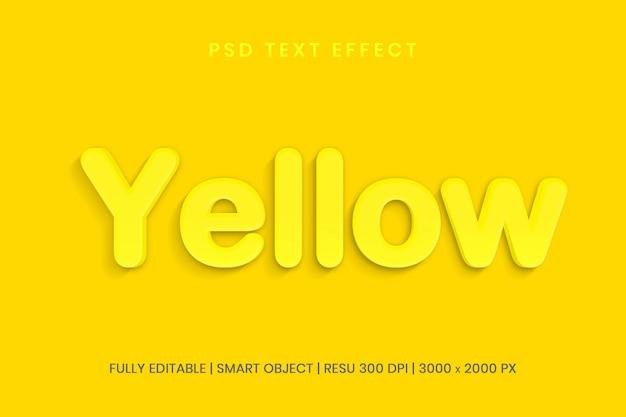 Żółty edytowalny styl efektu tekstu psd 3d