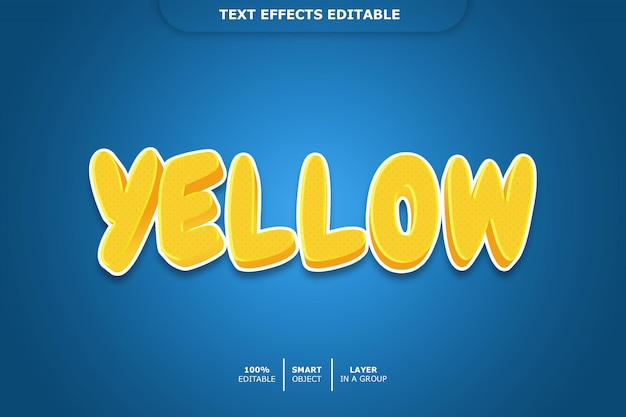 Żółty efekt tekstowy edytowalny