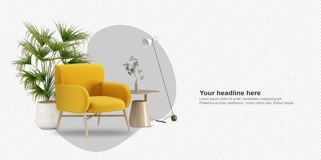 Żółty fotel i roślina w renderowaniu 3d