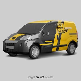 Żółty i czarny makieta van dostawy