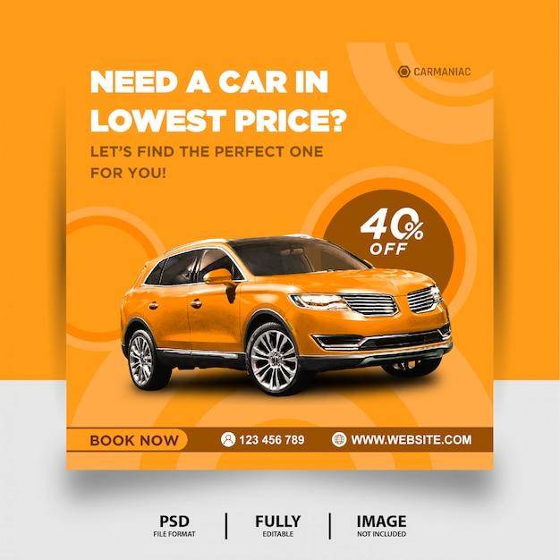 Żółty kolor wynajmij samochód instagram social media post banner