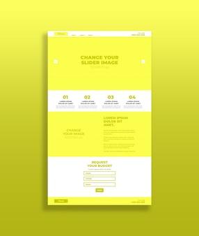 Żółty makieta strony docelowej