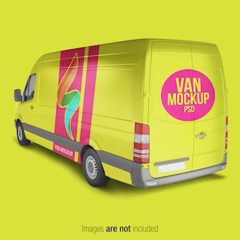 Żółty makieta van dostawy