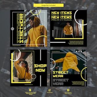 Żółty miejski streetwear fashion instagram szablon mediów społecznościowych pakiet premium