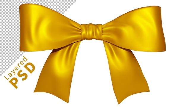 Żółty satynowy prezent wstążka łuk na białym tle