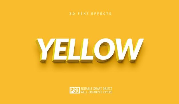 Żółty szablon efektu stylu edytowalnego tekstu 3d