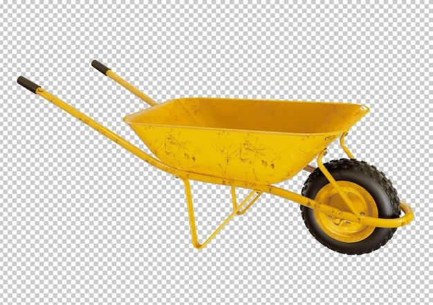 Żółty wózek cementowy, projekt na białym tle zaprawy