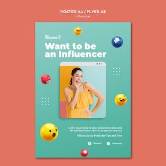 Zostań szablonem plakatu influencer