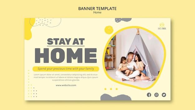 Zostań w domu szablon transparentu