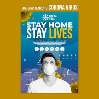 Zostań w domu, uratuj życie szablon plakatu