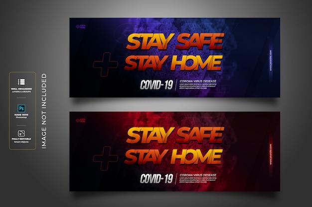 Zostań w domu zachowaj bezpieczeństwo szablon okładki na facebooku w stylu 3d koronawirusa w stylu tekstowym