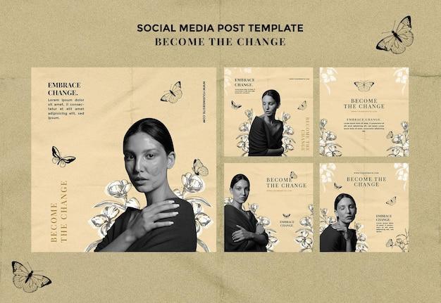 Zostań zmianą post w mediach społecznościowych