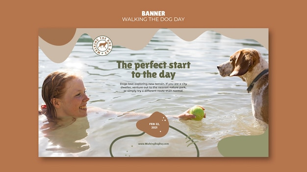 Zwiedzanie banera szablonu reklamy dnia psa