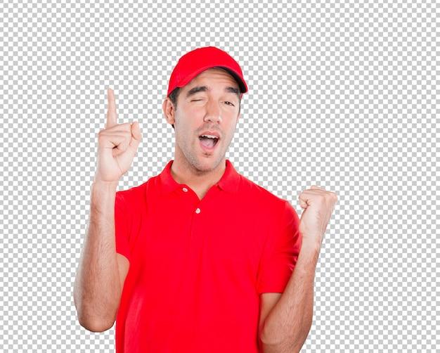 Zwycięzca dostawy człowiek z numerem jeden gest