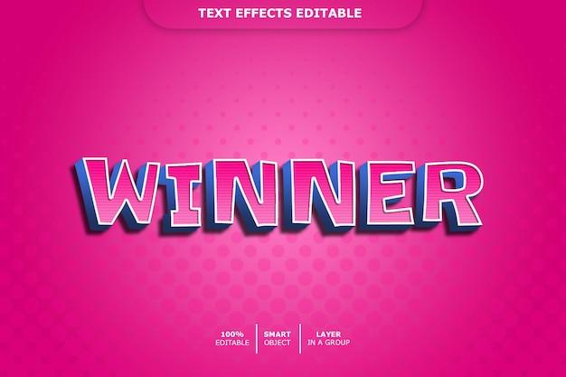Zwycięzca efekt stylu tekstu 3d