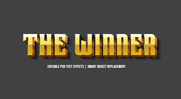 Zwycięzca złoty efekt stylu tekstu 3d