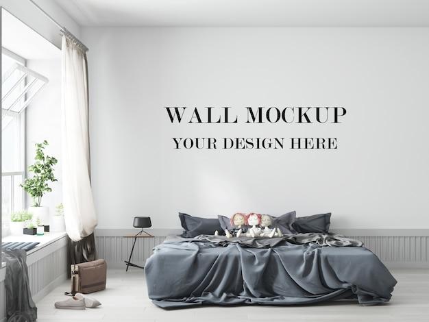 Zwykła sypialnia ściana tła makieta renderowania 3d
