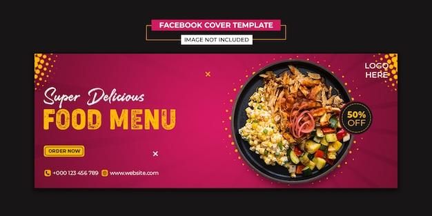 Żywność w mediach społecznościowych i szablon okładki na facebooku