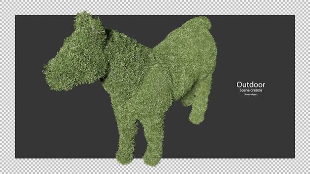 Żywopłoty ogrodowe w kształcie konia w renderowaniu 3d na białym tle