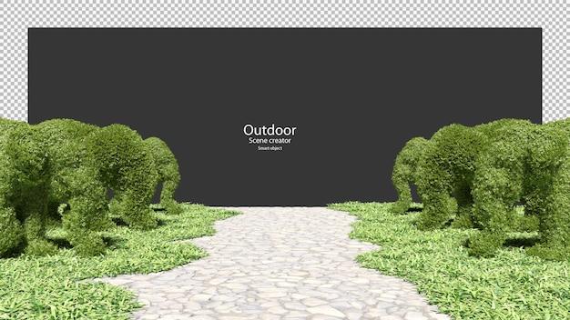 Żywopłoty ogrodowe w kształcie słonia ścieżka ogrodowa