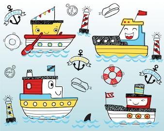 Ładna śmieszna statek kreskówka