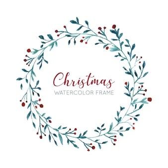 Ładny akwarela wieniec świąteczny
