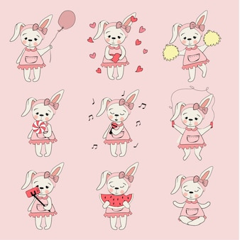 Ładny królik kreskówka wyciągnąć rękę