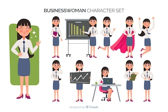 Ładny zestaw znaków businesswoman