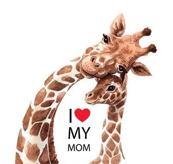 Śliczna żyrafy mama i dziecko w akwareli.