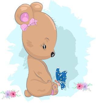 Śliczna dziecko niedźwiadkowa dziewczyna i motyl kreskówka rysująca