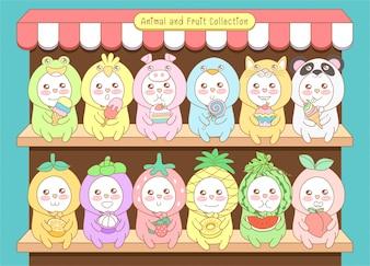 Śliczna kolekcja zwierząt i owoców