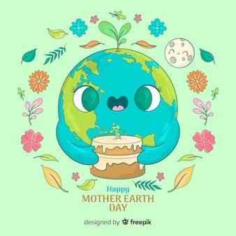 Śliczna planeta z tortem matkuje ziemskiego dnia tło