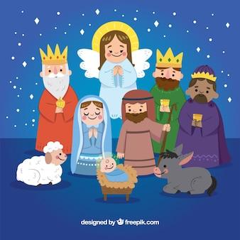 Śliczna ręka rysująca narodzenie jezusa scena