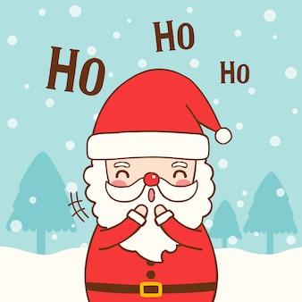 Śliczna Santa Claus z tekstem ho ho ho w mieszkanie stylu