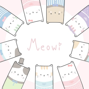 Ślicznego figlarka kota kreskówki doodle pastelowa rama