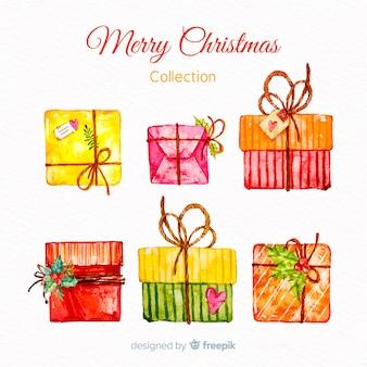 Śliczny akwarela prezent na Boże Narodzenie