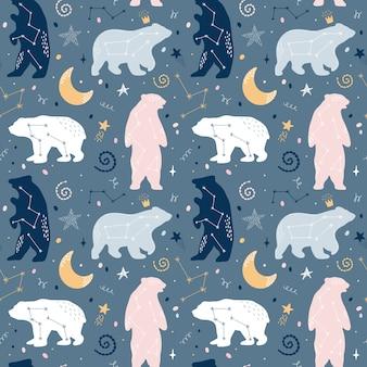 Śliczny bezszwowy wzór z niedźwiadkowymi gwiazdozbiorami na niebie