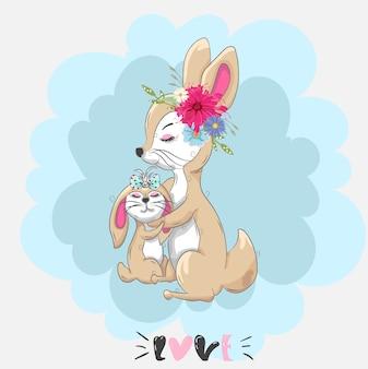 Śliczny dziecko królik z mamy kreskówki ręką rysującą
