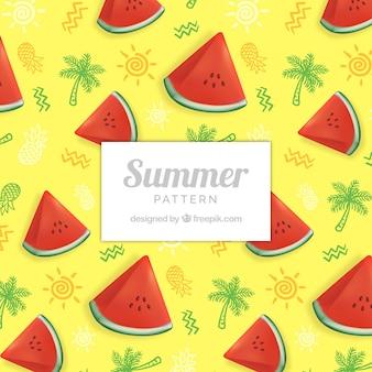 Śliczny lato wzór z arbuzem