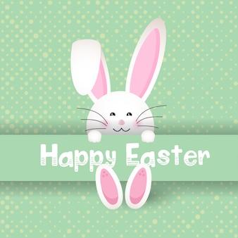 Śliczny Wielkanocny królik na polki kropki tle