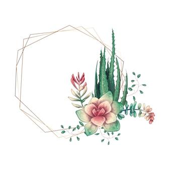 Ślubna kolorowa rama z sukulentem i kaktusami.