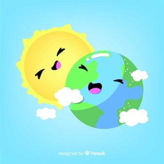 Śmieszne tło ziemi i słońca