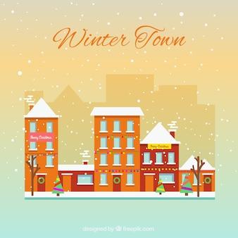 Śnieżna zima miasto