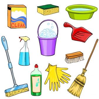 Środki czyszczące zestaw kreskówki