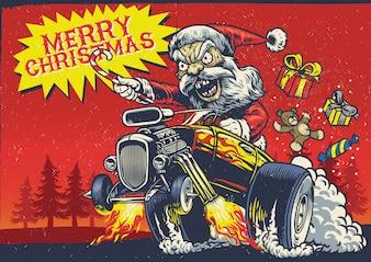 Święty Mikołaj jedzie samochodem z gorącym prętem