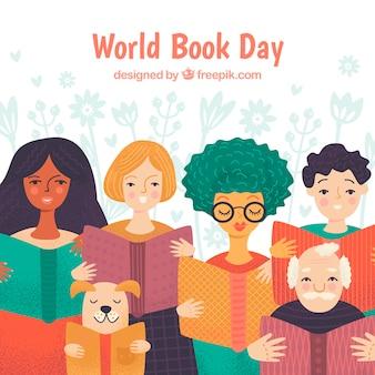 Światowy dzień książki tło z ludźmi czytającymi
