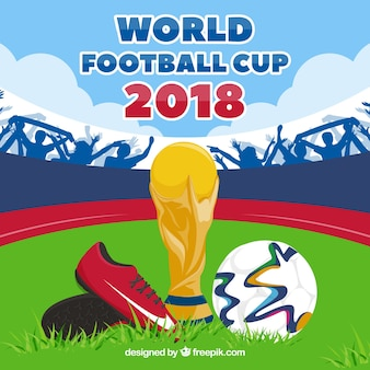 Światowy filiżanki piłki tło z trofeum i piłką