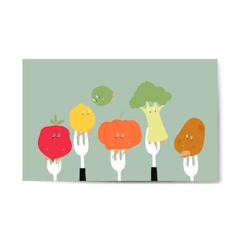 Świeże kreskówki z warzyw organicznych na widłach