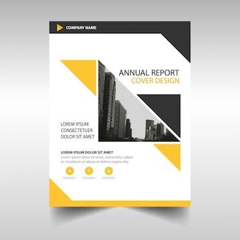 Żółty czarny trójkąt raport roczny szablon broszura
